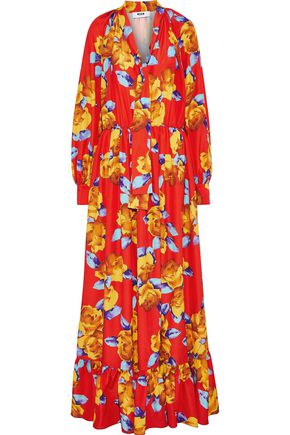 MSGM Tie-neck floral-print crepe de chine maxi dress
