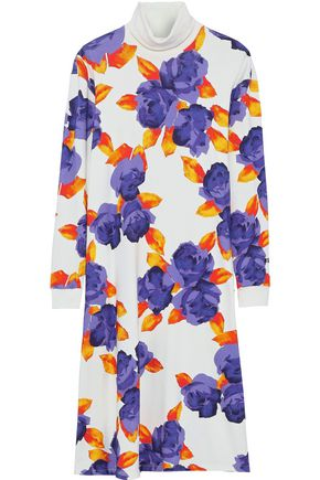 MSGM Floral-print French cotton-terry turtleneck midi dress