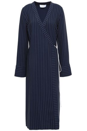 LA LIGNE Pinstriped crepe midi wrap dress