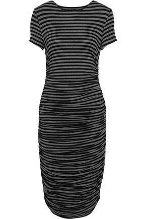 NORMA KAMALI Ruched striped stretch-jersey dress
