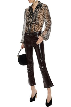 ANNA SUI Tie-neck leopard-print silk-georgette blouse