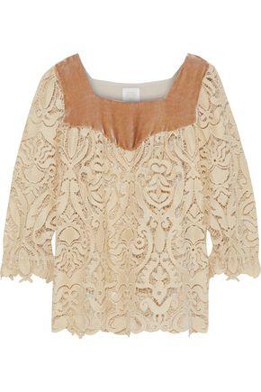 ANNA SUI Velvet-paneled guipure lace blouse