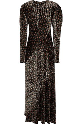 PUSHBUTTON Gathered floral-print velvet maxi dress