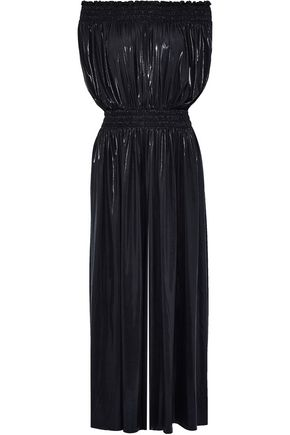 NORMA KAMALI Off-the-shoulder shirred lamé wide-leg jumpsuit