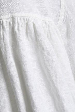 A.L.C. Ruffled slub linen-jersey T-shirt