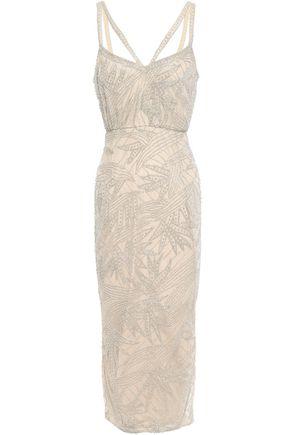 RACHEL GILBERT Beaded tulle midi dress
