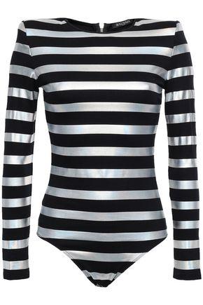 BALMAIN Iridescent striped cotton bodysuit