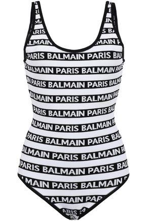 BALMAIN Open-back metallic jacquard-knit bodysuit
