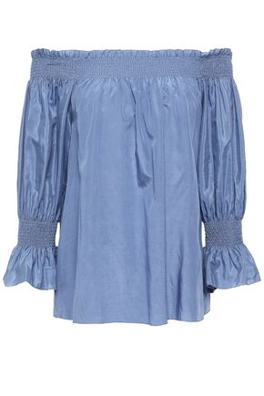 7 FOR ALL MANKIND Off-the-shoulder silk and cotton-blend blouse
