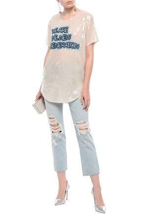 BALMAIN Crystal-embellished sequined T-shirt