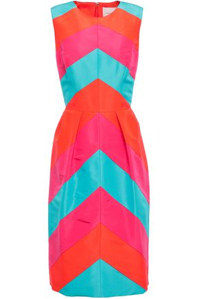 CAROLINA HERRERA Color-block silk-faille dress