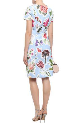 CAROLINA HERRERA Floral-print cotton-blend dress