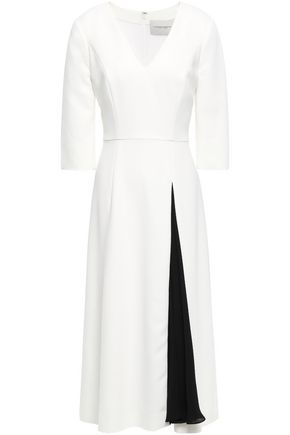 CAROLINA HERRERA Two-tone crepe midi dress