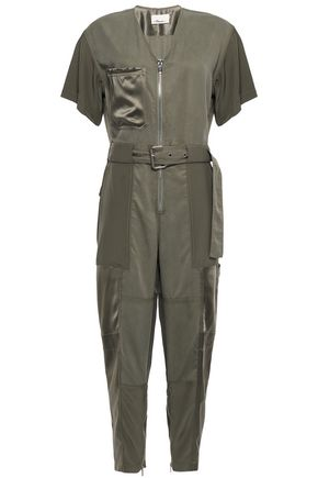 3.1 PHILLIP LIM Cropped satin-trimmed Tencel and cotton-blend jumpsuit