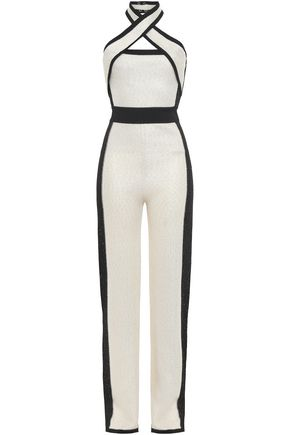 BALMAIN Sequined two-tone waffle-knit jumpsuit
