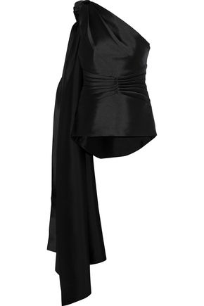 BRANDON MAXWELL One-shoulder pleated knotted satin top