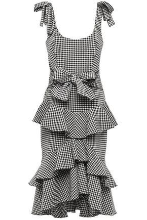 REBECCA VALLANCE Tiered bow-detailed gingham cotton-blend seersucker midi dress