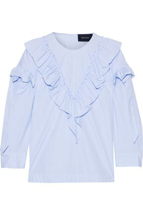 SIMONE ROCHA Ruffled bow-detailed striped cotton-poplin blouse