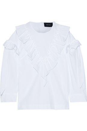 SIMONE ROCHA Ruffled bow-detailed cotton-poplin blouse