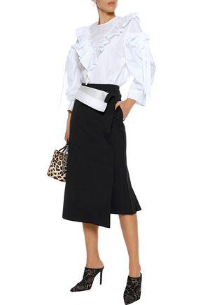 SIMONE ROCHA Ruffled bow-detailed cotton-poplin blouse