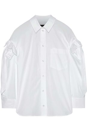 SIMONE ROCHA Bow-detailed ruffle-trimmed cotton-poplin shirt