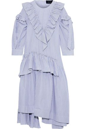 SIMONE ROCHA Ruffled striped cotton-poplin midi dress