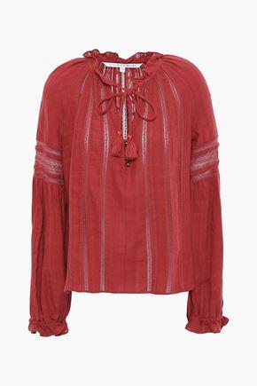 VERONICA BEARD Lace-trimmed cotton-jacquard blouse