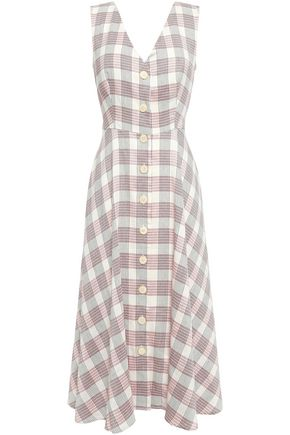 VERONICA BEARD Checked woven midi dress
