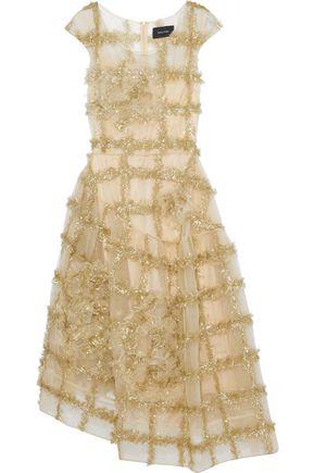 SIMONE ROCHA Asymmetric appliquéd tinsel-trimmed tulle midi dress