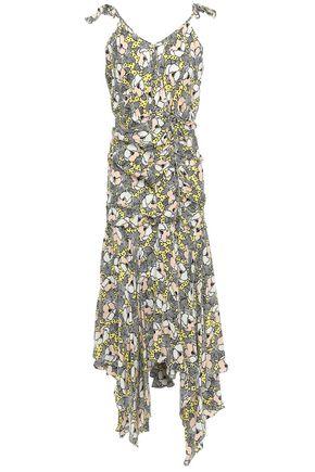 VERONICA BEARD Ruched printed silk-crepe midi dress