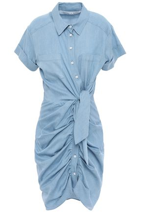 VERONICA BEARD Tie-front ruched twill dress