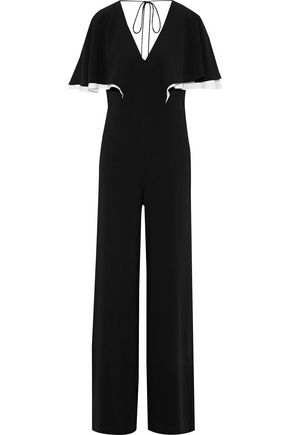 HALSTON HERITAGE Cape-effect crepe jumpsuit