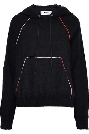 MSGM Embroidered bouclé-knit cotton-blend hoodie