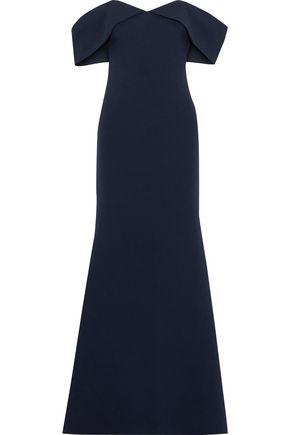 BADGLEY MISCHKA Off-the-shoulder crepe gown