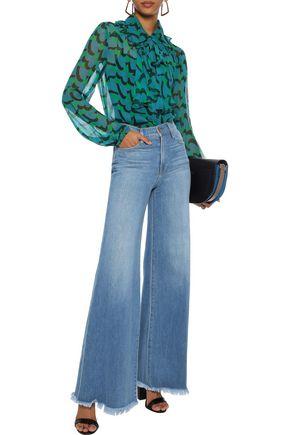 ANNA SUI Ruffled printed silk-georgette blouse