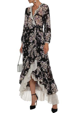byTIMO Ruffled floral-print fil coupé georgette maxi wrap dress