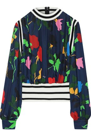 MSGM Ribbed knit-trimmed printed crepe de chine blouse