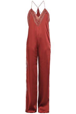 JONATHAN SIMKHAI Lace-trimmed satin-twill jumpsuit