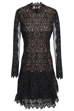 JONATHAN SIMKHAI Tiered tulle-paneled guipure lace mini dress