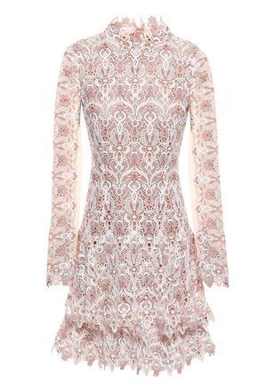 JONATHAN SIMKHAI Tiered tulle-paneled guipure lace mini dress