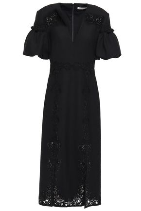 JONATHAN SIMKHAI Lace-appliquéd twill midi dress