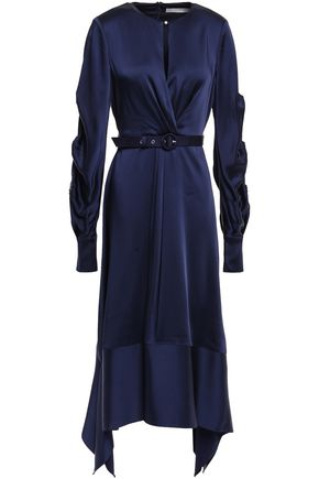 JONATHAN SIMKHAI Belted gathered satin midi dress