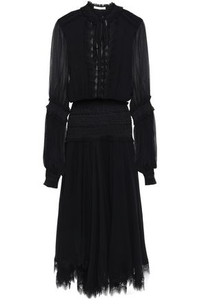JONATHAN SIMKHAI Smocked lace-trimmed silk-chiffon midi dress