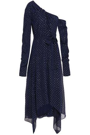 JONATHAN SIMKHAI Asymmetric metallic fil coupé midi dress