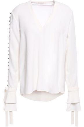 JONATHAN SIMKHAI Tie-detailed embellished crepe blouse