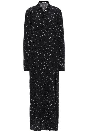 JIL SANDER Printed silk maxi shirt dress