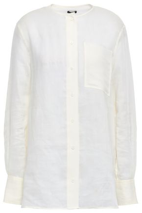 JOSEPH Briar crepe de chine-paneled ramie-voile shirt