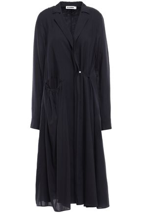 JIL SANDER Gathered wool midi dress