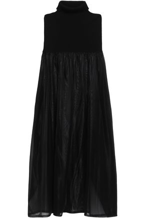 JIL SANDER Cape-effect ribbed-knit and moire maxi dress