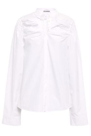 JIL SANDER Ruched cotton--poplin shirt
